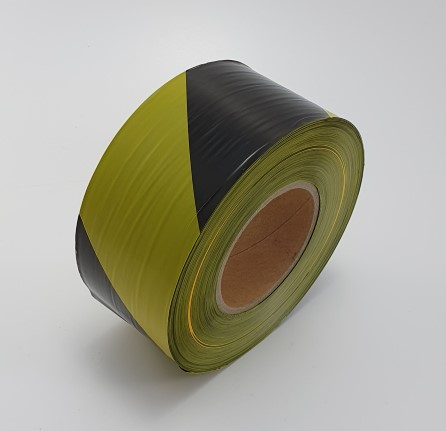 Non-adhesive Warning tape black/yellow 70 mm x 500 mtr