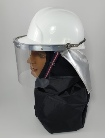 Firemans helmet c/w aluminised neck curtain