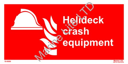 Photoluminescent sign - Helideck crash equipment 15x30 cm