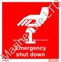 Photoluminescent sign - Emergency shut down (red) 15x15 cm