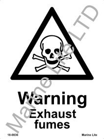 Photoluminescent warning sign - Exhaust fumes 20x15cm