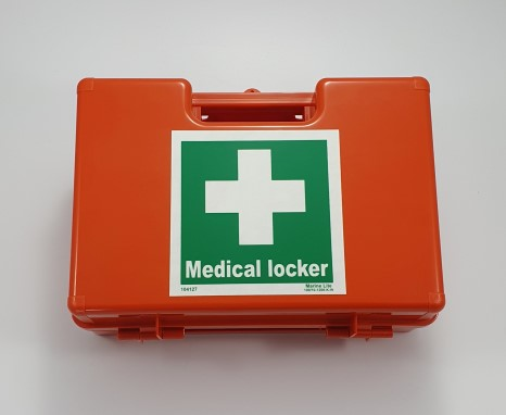 First aid kit complete with wall mounting bracket