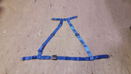 Free Fall Lifeboat seatbelt 4-point adjustable. Blue