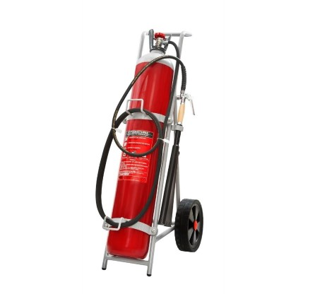 Extinguisher CO2 30 kg MED wheeled complete with hose